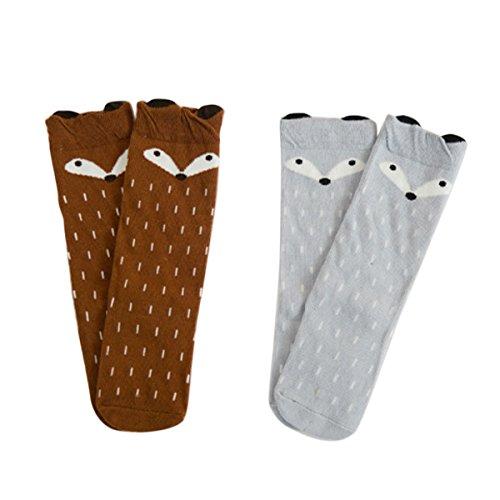 Happy Cherry Baby Kinder Unisex 2 Paar Lange Socken, Baumwolle süße Kindersocken Set für Mädchen und Jungen (1 bis 3 Jahre alt) - Fuchs Braun Grau
