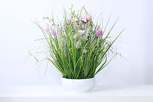Liatris Floristik Grasbusch im Topf (ca 35cm hoch, 25cm breit) Kunstgras, Dekogras, künstlicher Grasbüschel, Ziergras, Kunstpflanze naturgetreue Deko (rosa)