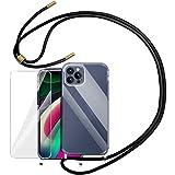 YIRSUR Handykette Handyhülle & Panzerglas Schutzfolie Kompatibel mit iPhone 12 Pro Max Hülle mit Kordel zum Umhängen Necklace mit Band Transparent Silikon Kompatibel mit iPhone 12 Pro Max (Clear)