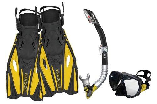Body Glove Adult Vapor Pro Fins Set Snorkel Mask (Yellow, Large/X-Large)