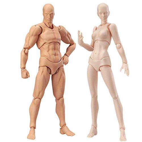 Action Figuren Modell, Starall menschlichen Mannequin Mann + Frau Action Figure Set mit Zubehör Kit, ideal für Zeichnung, Skizzieren, Malerei, Künstler, Cartoon-Figuren Aktion
