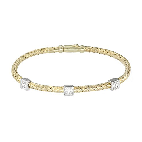 Meshmerise .15 cttw Diamond Silver 18K Vermeil Square Diamond Mesh Bangle