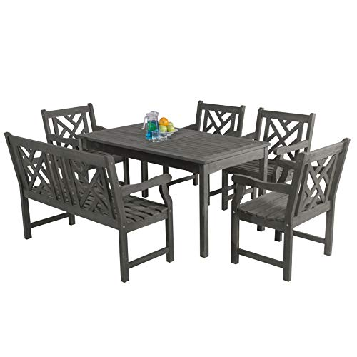 Vifah Renaissance Outdoor 6-Piece Hand-Scraped Wood Patio Dining Set with 4-Foot Bench