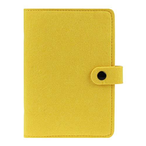 Carpeta de fieltro tamaño A6, cuaderno en espiral, carpeta de 6 anillas, organizador personal de hojas sueltas, planificador de agenda, diario de viaje recargable,botón de presión, color amarillo