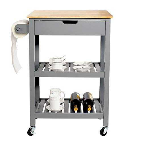 U-Eway Kitchen Rolling IslandBar Serving Cart on Wheels3 Tiers Wine Tea Beer Shelves Holder with DrawerTrolley with Storage for Dining Rooms Kitchens Grey