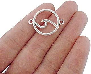 FidgetFidget 20pcs Antique Silver Openwork Ocean Wave Connector Charms for Bracelet Making