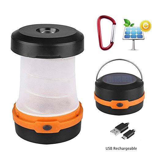 AimdonR Lanterne solaire de camping - Lampes de poche USB - Batterie rechargeable (énergie solaire/charge USB) - Portable - 3 modes - Pliable - Pour camping, randonnée, pêche, tente