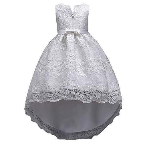 Xmiral Abito con Gonna in Pizzo con Fiocco e Abito da Principessa Festa Cosplay Abito da Sposa Vestito della Principessa Altezza: 150cm Bianco