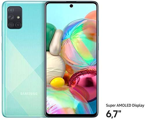 Samsung Galaxy A71 (16.95cm (6.7 Zoll) 128 GB interner Speicher, 6 GB RAM, Dual SIM, Android, prism crush Blau) Deutsche Version