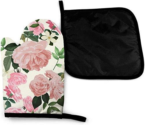 gong White Rose Flowers Country Cat's Eyes Drôle Black Art Mitaines de Four à Micro-Ondes et Supports de Casserole Ensemble de Couverture is