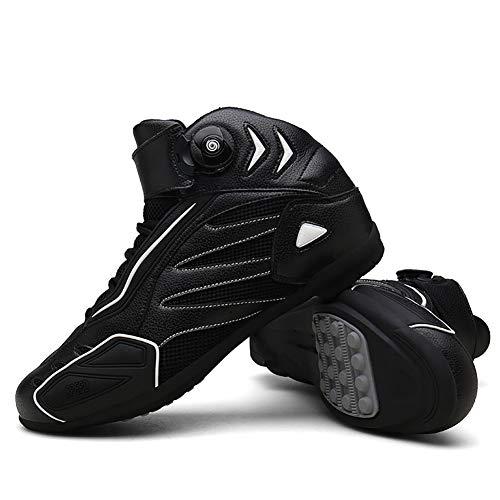 F-DYZS Botas Moto Racing Estilista Corto Bota del Tobillo, Zapatos de rotación de la Motocicleta Campo a través, Zapatos Blindados a Prueba de Agua Botas de Cuero de protección,A,41