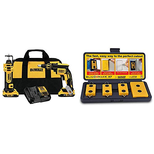 DEWALT 20V MAX XR Drywall Screw Gun & Cut-out Tool Combo Kit & Calculated Industries 8105 Blind Mark Drywall Electrical Box Cutout Tool – Powerful Rare-Earth Magnetic Targets (3) and Locator Kit