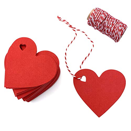 Red Tags Valentine Gift Tags 100 PCS Heart Shaped Kraft Paper Tags Price Tag with 300 Feet Red and White Twine for Valentine's Day Wedding Favor Party Decorations