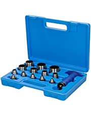 ECD Tyskland ihåligt hålset slitstark 14 delar läderstansverktyg 5-35 mm perforeringsverktyg professionell PC hålstansning set 5 till 35 mm gummi läder plast