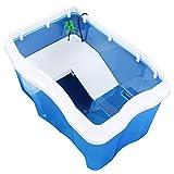Zunruishop Acuario Familia Grande Plástico Tanque de Peces Tortuga Mascota Caja de cría Tanque de Peces Tortuga Cilindro Azul Acuario Tanque de Pescados (tamaño : XL)