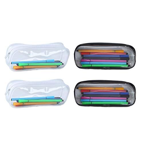 TENDYCOCO 4Pcs Sac Cosmétique Clair Sac de Rangement de Voyage Pochette de Maquillage Sac à Crayons Transparent Organisateur de Papeterie (Noir + Blanc)