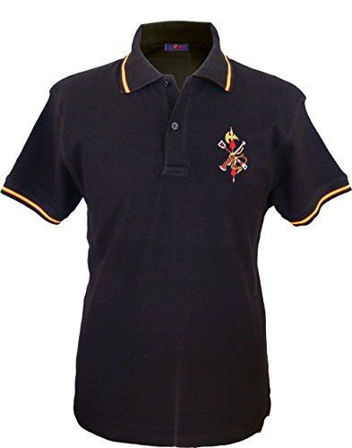 Pi2010 - Polo Legión Española Hombre/Bandera de España en Cuello y magas/Negro/Talla S