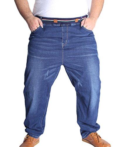 Heheja Uomo Pantaloni Taglia Grossa Tempo Libero Jeans Elasticità Vita Alta Denim Pantaloni Blu 8XL