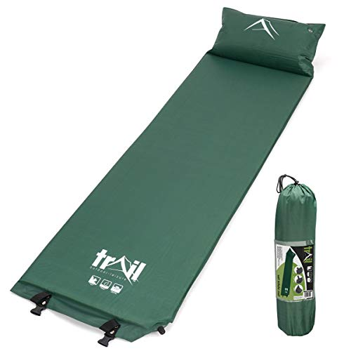 trail outdoor leisure Single Inflatable Camping Mat With Pillow, Self-Inflating Sleeping Mattress, PU Memory Foam, Lightweight Compact Carry Bag