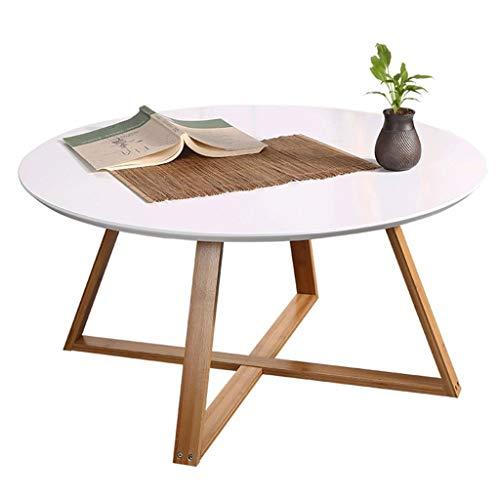 Sofa & Console Tables Sofa & Console Tables Kleiner runder Tisch mit Bambustisch Schlafzimmer kleinen Couchtisch runden Tisch Ecke Wohnzimmer Sofa Beistelltisch ( Color : Weiß , Size : 80*80*44cm )