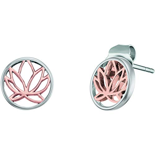 Engelsrufer Lotus Ohrstecker ERE-LILLOTUS-BI-ST, rhodiniertes 925 Sterlingsilber, Bicolor Roségold Silber, Butterfly-Verschluss, 1 x 1 cm
