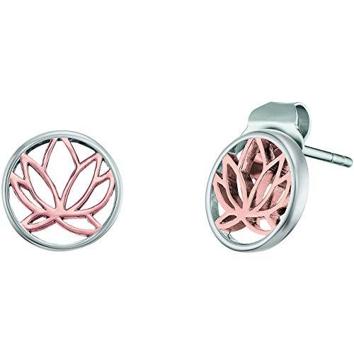 Engelsrufer Lotus ERE-LILLOTUS-BI-ST - Pendientes de plata de ley 925 rodiada, bicolor, cierre de...