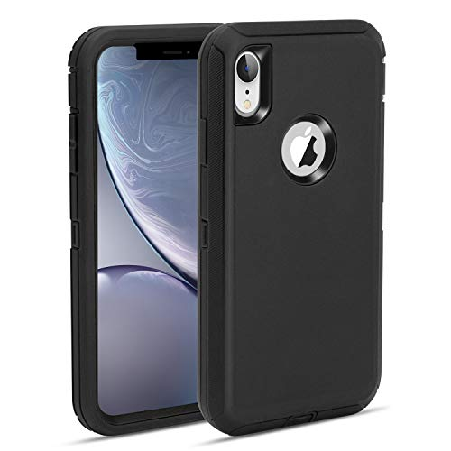 MAXCURY Defender iPhone XR Case, Heavy Duty Shock Absorption Full Body Protector Phone Case for iPhone XR with Hard PC Bumper + Soft TPU Back Cover for iPhone XR 6.1 inch (Black)