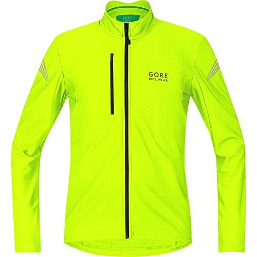 Gore Bike Wear Element Thermo - Maillot de ciclismo para hombre, color negro/ amarillo flúor (neon yellow), talla S