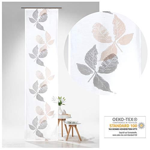 heimtexland ® Schiebegardine Batist Pure Nature Blätter 245x60 Flächenvorhang Schiebevorhang Transparent Weiß Grau Typ638