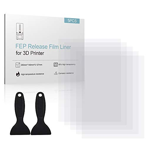 Mookis FEP Film (5er-Pack) für UV 3D Drucker 0,127 mm dick mit 2 Ersatz Kunststoffspatelfür alle SLA-Drucker von Elegoo/AnyCubic/Wanhao/EPAX/Sparkmaker