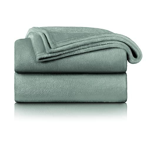 Blumtal Flauschige Kuscheldecke – hochwertige Wohndecke, super weiche Fleecedecke als Sofaüberwurf, Tagesdecke oder Wohnzimmerdecke, 150 x 200 cm, Green Smoke - Green