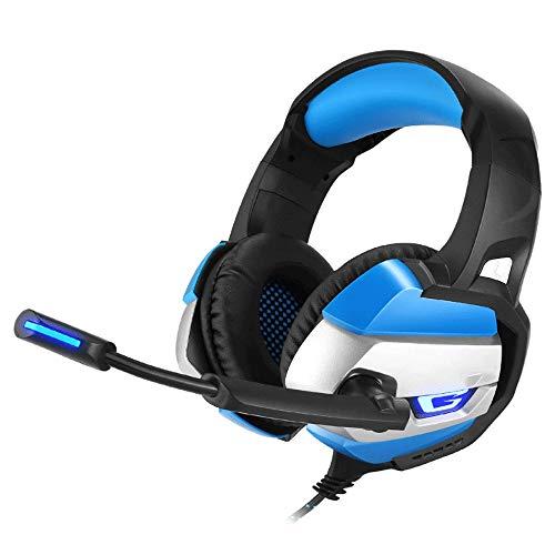 Big Shark Gaming headset, Active Noise Cancelling Bluetooth-hoofdtelefoon met microfoon, diepe bass, draadloos, over het oor, LED Head-Mounted Headset, Blauw