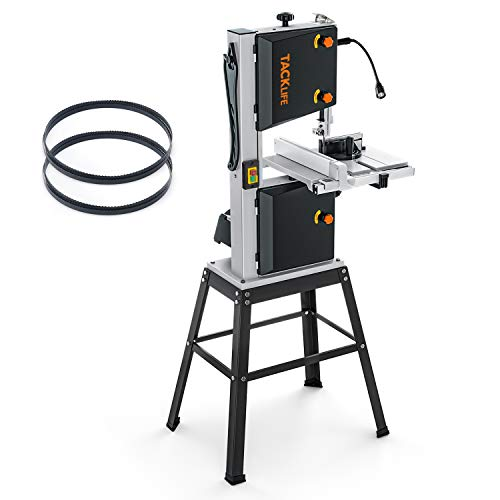 10-Inch 3.5-Amp Band Saw TACKLIFE, Two Speeds (2160FPM & 3150FPM), Movable LED Worklight, Aluminum Table Extension, 0°to 45°Bevel Cutting, Benchtop Band Saw with Additional Blade, 2 Scales - PBS01A