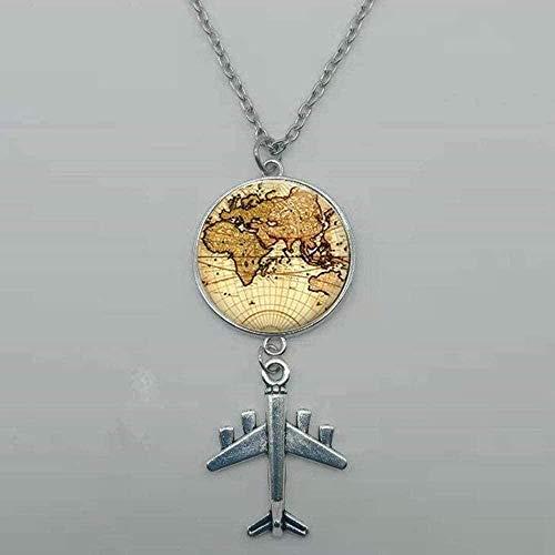 Yiffshunl Halskette Mode Wandering World Map Glasfase Anhänger Halskette Reise Entdeckung Entdecken Sie Frauen S Halskette Halskette