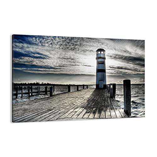 Cuadro sobre lienzo - Impresión de Imagen - Lago faro puente de madera el agua - 120x80cm - Imagen Impresión - Cuadros Decoracion - Impresión en lienzo - Cuadros Modernos - AA120x80-0330