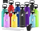 KollyKolla Bottiglia Termica per Acqua in Acciaio Inox, 600ml Senza BPA, Borraccia Sportiva Sottovuoto a Doppia Parete, Borracce Termiche per Bambini, Scuola, Ufficio, Sport, Palestra, Nero