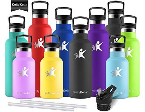KollyKolla Vakuum-Isolierte Edelstahl Trinkflasche, 500ml BPA-frei Wasserflasche mit Filter, Thermosflasche für Kinder, Mädchen, Schule, Kindergarten, Sport, Wandern, Camping, Outdoor, Schwarz