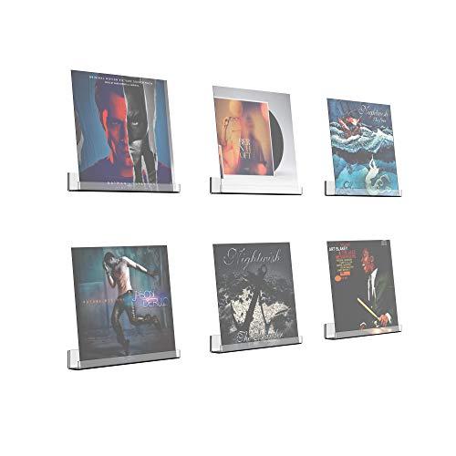 Estante de exhibición de discos de vinilo invisible acrílico para álbumes, 12 pulgadas, paquete de 6, estantes de vinilo LP de montaje en pared transparente con tornillos, anclajes y destornillador, pequeños estantes de almacenamiento de repisa de pared transparente