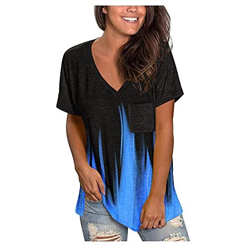 Camisetas Mujer Manga Corta Cuello V Casual Verano Blusa Baratas Originales T-Shirt Tie Dye Estampada Deporte Tops Suelta Elástico tee Shirts Básica Camisa de Vestir (#02 Azul, XXL)