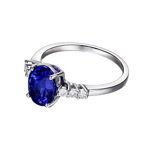 Bishilin Oro Blanco 18K Anillo Mujer Compromiso Aniversario Azul Tansanita Anillos Mujer Tanzanita Ovalada 2.26Ct Diamante 0.15Ct Azul Plateado Anillo de Matrimonio de Compromiso Talla:6,75