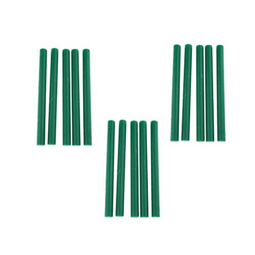 P Prettyia 15 Pezzi Bastoncini di Cera di Round Sealing Resina per Confezionamento di Regali, Carte, Materiali Scientifici per Prodotti Laboratoriali - verde B