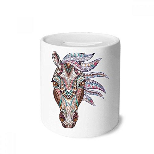 DIYthinker Bunte Mosaik-Art-Pferde Design Geld Kasten Sparkassen Keramik Münzfach 3.5 Zoll in Height, 3.1 Zoll in Duruchmesser Mehrfarbig