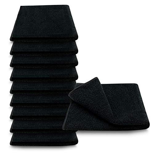 ARLI Handtuch 100% Baumwolle schwarz 10 Handtücher Set Serie aus hochwertigem Rohstoff Frottier klassischer Design elegant schlicht modern praktisch mit Handtuchaufhänger 10 Stück