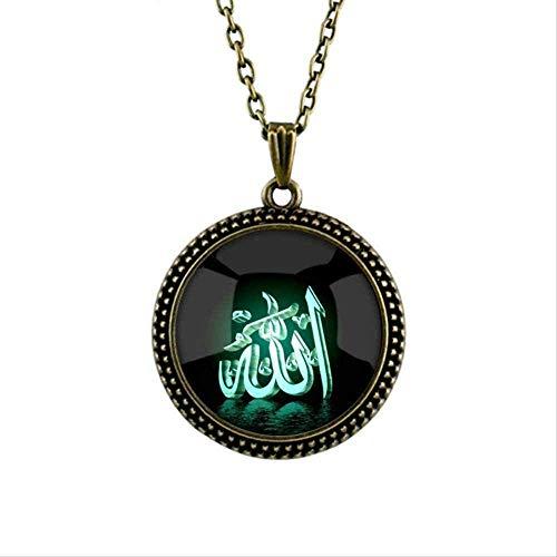 Collar personalizado de cristal islámico Alá árabe musulmán colgante collar con cadena para la joyería religiosa de Muhammad Oriente Medio