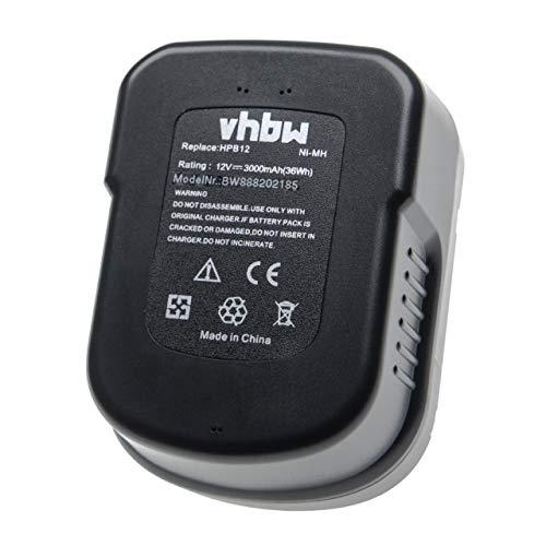vhbw Batería recargable compatible con Black & Decker SX3000, SX3500, SX5000, XD1200, XD1200K, XTC12IK herramientas eléctricas (3000 mAh NiMH 12 V)