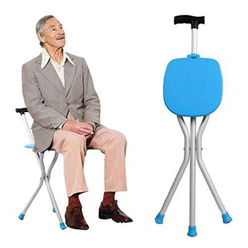 DealMux Aid Bastón de asiento plegable, bastón y asiento de silla, silla de bastón de viaje, bastón de asiento ligero y robusto de 3 patas - bastón de tres patas con taburete, muletas