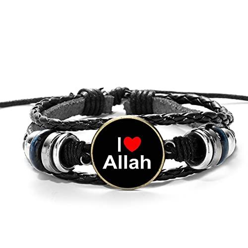 Inveroo Pulsera con símbolo de Alá islámico árabe musulmán fe Religiosa Encanto Pulseras de Cuero Trenzado cabujón de Cristal joyería Hecha a Mano