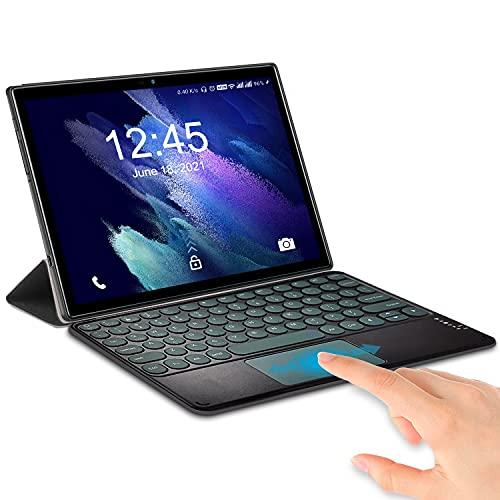 Tablette Tactile Android 10 6Go RAM + 64Go/512G0 ROM (Dual 4G LTE+5G WiFi), Octa-Core, Tablette 10 Pouces 1920x1200 IPS FHD+, 5MP+8MP, 6500mAh, WiFi | Bluetooth | Tablette PC avec Clavier (Noir)