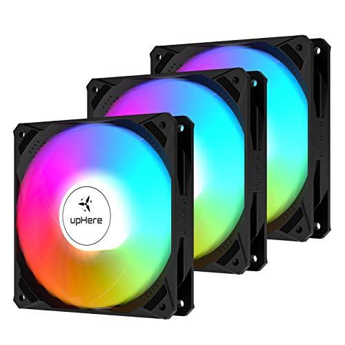 upHere Ventilador de chasis de 120mm silenciosa Ventilador de Caja RGB 5V ARGB SYNC LED de Color Ajustable,Tres Paquetes NK1207-3