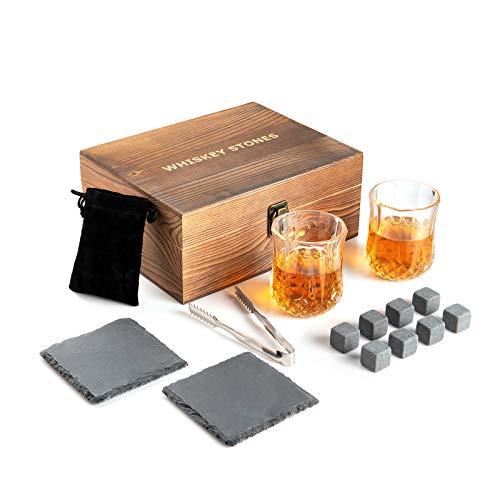 Cubitos de hielo de granito, juego de regalo con 2 vasos de whisky, 8 piedras de refrigeración, 2 posavasos de pizarra, pinzas y caja de madera, juego de whisky con piedras reutilizables para hombres